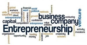 entrepreneurship word cloud concept isolated on white