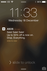 asos sale notification