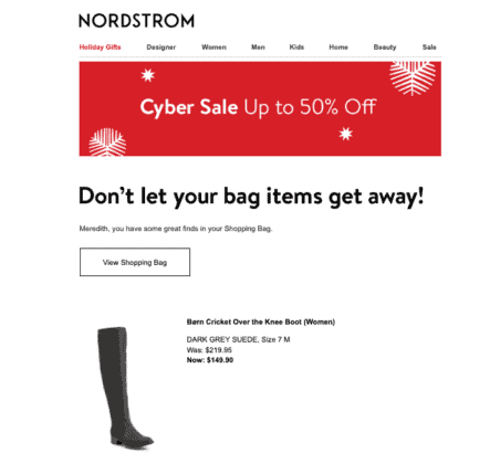 Cart emails